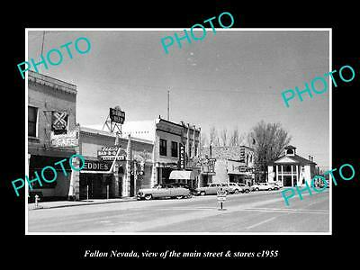 OLD LARGE HISTORIC PHOTO OF FALLON NEVADA, THE MAIN STREET & STORES c1955