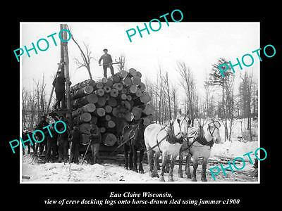 OLD LARGE HISTORIC PHOTO OF EAU CLAIRE WISCONSIN, LOGGING TEAM WITH SLED c1900