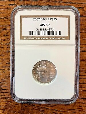 2007 $25 Platinum Eagle 1/4 OZ Coin NGC MS  69