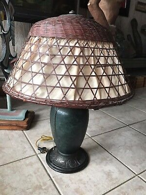 Antique Arts And Crafts Pittsburgh Lamp With Wicker/ Silk Shade- Rare 2 Light