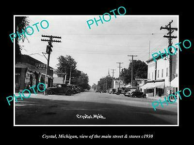OLD LARGE HISTORIC PHOTO OF CRYSTAL MICHIGAN, THE MAIN STREET & STORES c1930