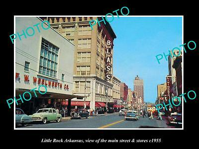 OLD LARGE HISTORIC PHOTO OF LITTLE ROCK ARKANSAS, THE MAIN STREET & STORES c1955