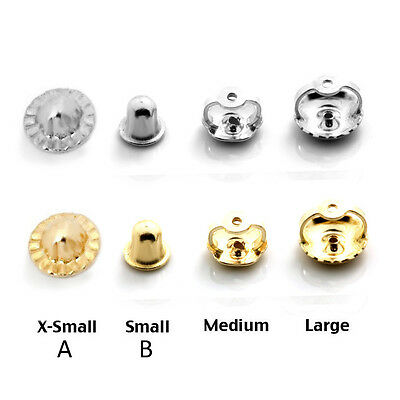 14K Solid White & Yellow Gold Screw Backs Earrings Nut Replacement Findings