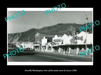 OLD LARGE HISTORIC PHOTO OF OROVILLE WASHINGTON, THE MAIN STREET & STORES c1960
