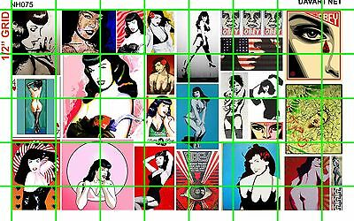 NH075 DAVE'S DECALS 1/2 Set N SCALE STREET ART BETTIE PAGE COLORFUL GRAFFITI
