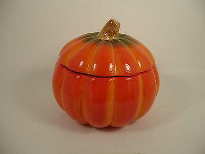 Glazed Ceramic Pumpkin Covered Dish Candy Jar by FTD