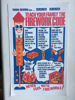 Vintage Teach Your Family The Firework Code Leaflet 1970's ?