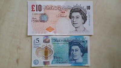 GREAT BRITAIN £10 £5 Pound Bank of England Victoria Cleland set x2 UNC Banknotes