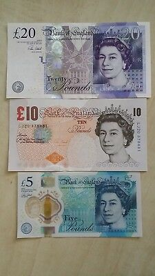 GREAT BRITAIN £20 £10 £5 Pound England Victoria Cleland set x 3 UNC Banknotes