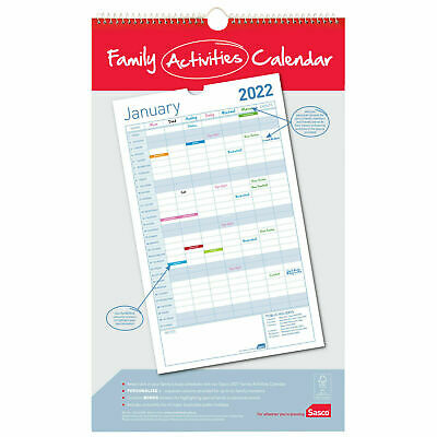 2020 Sasco Family Activities Wall Planner Calendar 253 x 420mm