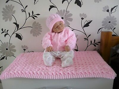 Ideal New Baby Girls Gift Set / Hand Knitted Blanket Cardigan & Hat 0-9 Months.