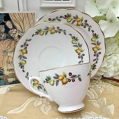 ROYAL VALE BONE CHINA 1960s TRIO SET CUP SAUCER PLATE TINY AUTUMN FRUITS BERRIES