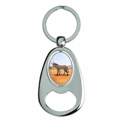Donkey on Ranch Chrome Plated Metal Spinning Oval Design Bottle Opener Keychain