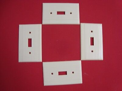 VTG 4 LEVITON RIBBED BAKELITE SINGLE TOGGLE SWITCH PLATE COVERS IVORY Nice!