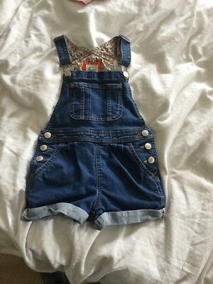 Girls Boden Denim Dungaree Shorts Size 4-5 Years
