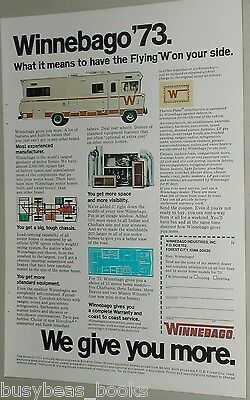 1973 WINNEBAGO Motor Home advertisement, Flying W, box on wheels