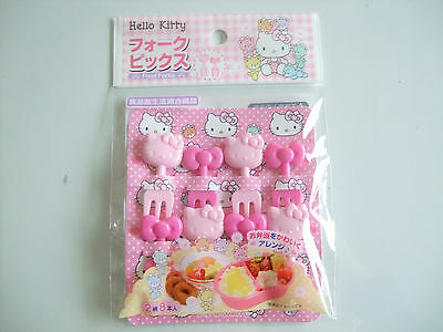 NEW!! Sanrio Hello Kitty Food Fork Picks 8 Pieces Japanese Bento Accessories