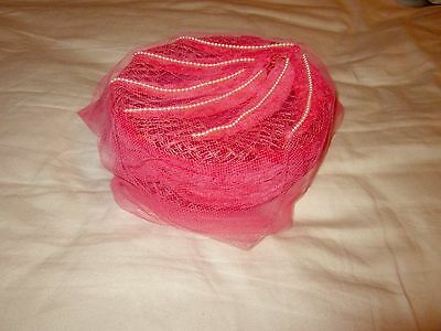 Vintage Pink Woman's Pill Box Hat with Veil and Hair Combs