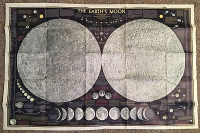 1969 vtg National Geographic EARTH'S MOON 1960s Map poster print HUGE 28 x 42