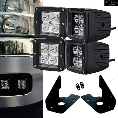"4Pcs 3x3"" LED Pods+Foglight Location Bracket For 07-14 Chevy Silverado 2500/3500"