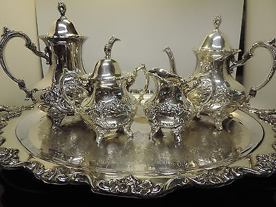 Poole Silver; Jack Shepard Repo Coffee & Tea Service 5 Piece Set with Tray