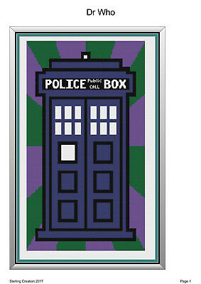 Crochet Patterns- Dr who Tardis Blanket-199x 328 stitches- Downloadable