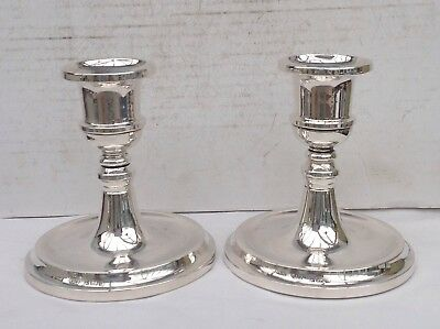 Excellent Vintage Pair Of Sterling Silver Candlesticks, 1979 - One Dented