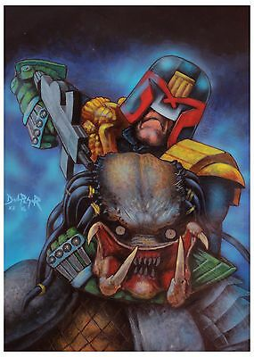 Judge Dredd vs Predator ORIGINAL acrylic illustration art