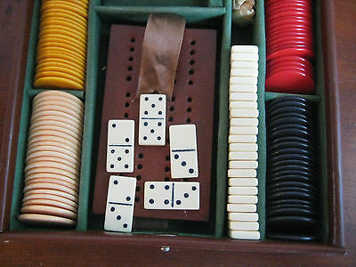 Vintage Albro Travel Games Set Cribbage / Dominoes In Leather Case