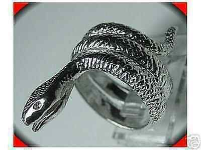 LOOK Sterling Silver Snake King Cobra curl Tail Ring Jewelry
