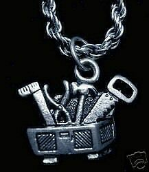LOOK Tool Box Hammer Saw Pliers Ruler Silver Charm Jewelry