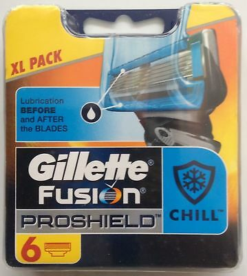 Gillette Fusion ProShield Chill Blades 6 Pack pack Blades ( Genuine)