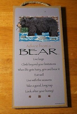 ADVICE FROM A BLACK BEAR - LOOK AFTER YOUR HONEY Lodge Cabin Sign Home Decor NEW