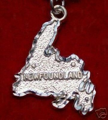 LOOK Newfoundland Map Canada STERLING SILVER pendant charm