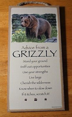 ADVICE FROM A GRIZZLY - LIVE LARGE Rustic Lodge Wood Cabin Sign Home Decor NEW