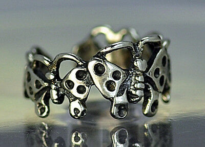 LOOK New Real Sterling Silver Elegant Butterfly Toe or Pinky Ring Insect bug Jew