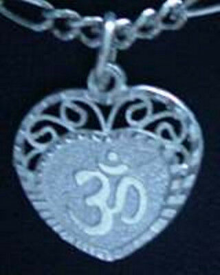 LOOK HEART Sterling Silver 925 Charm I LOVE Hindu OM Jewelry compassion forgiven