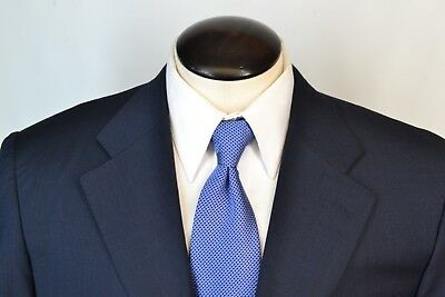 Canali Blue Pinstriped Wool 2 Piece Suit Sz 46R Made in Italy