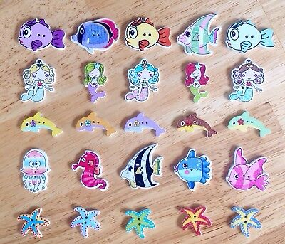 25 Pretty Wooden Mermaid Buttons with Dolphins, Fish And Starfish.