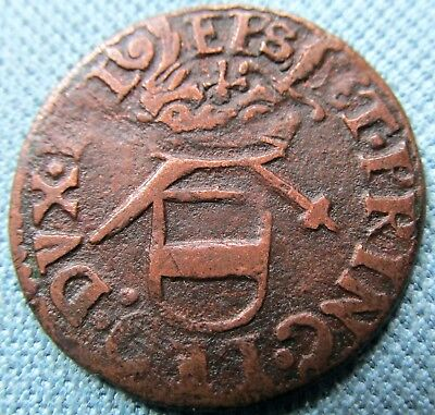 c. 1600s Liege Liard Low Countries Old Copper Coin-Maximilian Henry Bavaria Arms