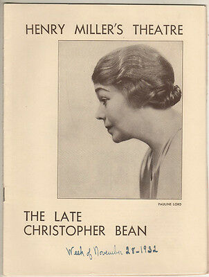 "Pauline Lord Playbill ""The Late Christopher Bean"" 1932 Sidney Howard"