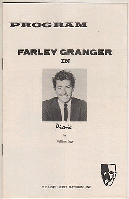 "Farley Granger Playbill 1958 ""Picnic"" North Jersey Playhouse"