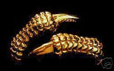 LOOK Gold Plated Gothic Snake Tail Cobra Ring Jewelry Wicca