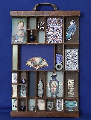 Vintage Small Wooden Printers Tray Type Case Artwork in BLUE