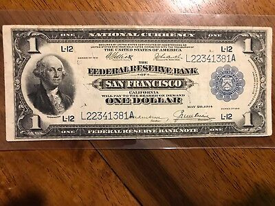 "1918 $1 San Francisco""Green Eagle""Federal Reserve Bank Note"