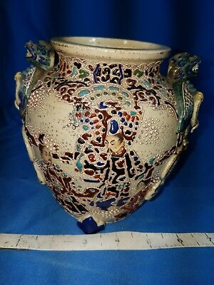 Japanese Antique VASE URN Mosaic Pattern  Samurai Beautiful