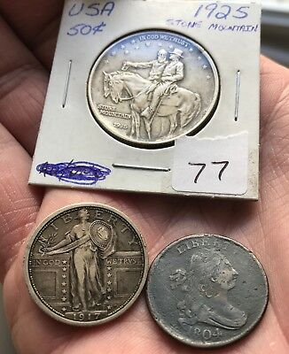 Rare silver coin lot draped bust half cent key 1917 standing 1925 Stone