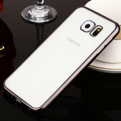For Samsung Galaxy S7 Case Cover Transparent Gel Ultra Thin Luxury Silver Clear