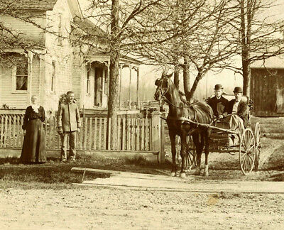 People, Horse Carriage, House & Original Antique Mounted Photo