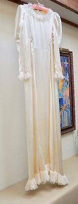 Vintage Early 1930s Long Wedding Dress + Veil + Ring Pillow + Kneeling Pad AS IS